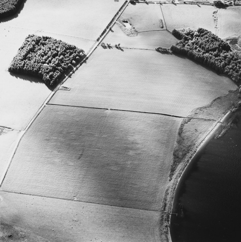 Oblique aerial view centred on the faint cropmarks of the platform of the Roman Fort, taken from the SE.
