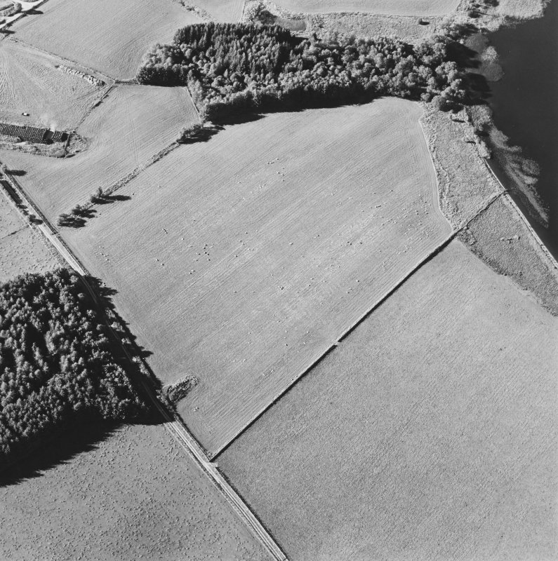 Oblique aerial view centred on the platform of the Roman fort, taken from the S.
