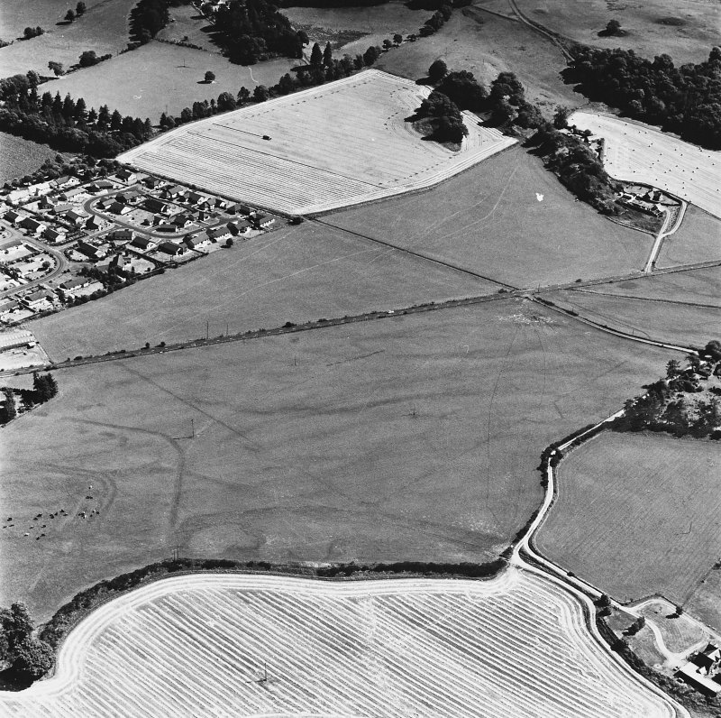 Dalginross, oblique aerial view, taken from the WNW, centred on the cropmarks of the Roman Temporary Camp. The Roman Fort is visible in the bottom left-hand corner of the photograph.