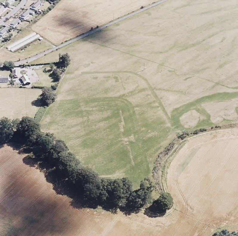 Dalginross, oblique aerial view, taken from the NW, centred on the cropmarks of the Roman Fort. The Roman Temporary camp is visible in the top half of the photograph.
