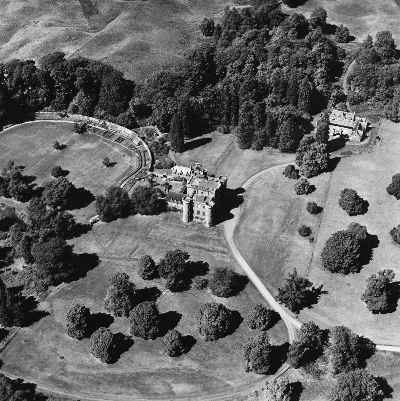 Monzie Castle, oblique aerial view, taken from the SE.