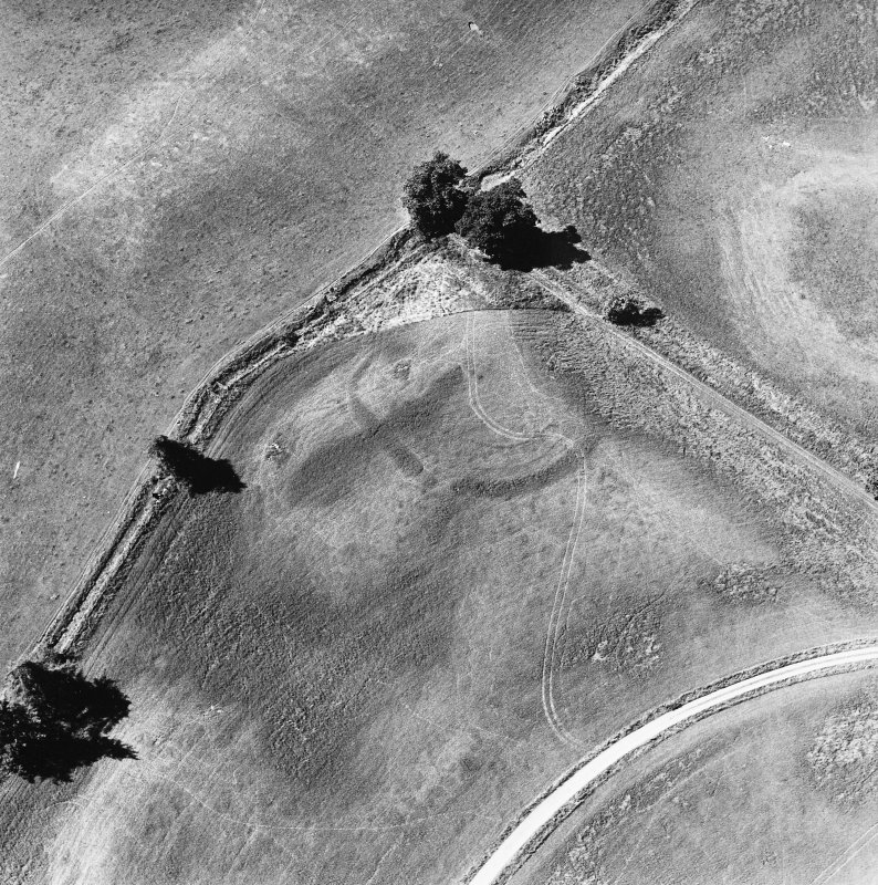 Monzie, oblique aerial view, taken from the E, centred on the cropmarks of a settlement and palisaded settlement.