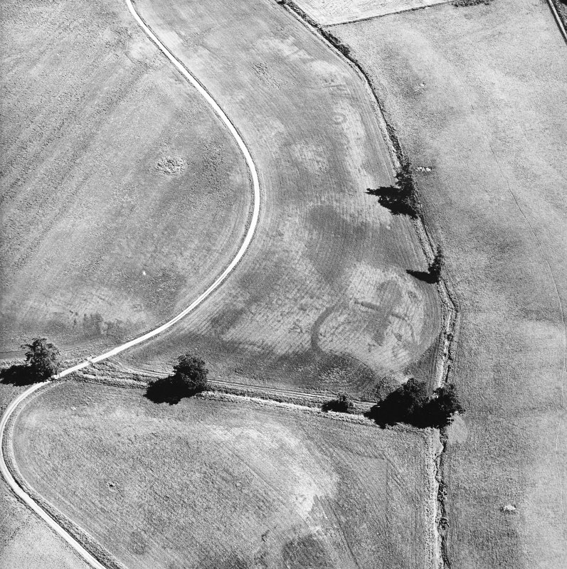 Monzie, oblique aerial view, taken from the NW, centred on the cropmarks of a palisaded settlement and possible square barrows. The Witches' stone is visible in the bottom left-hand corner of the photograph and cropmarks of a barrow and moated site are visible in the top half.