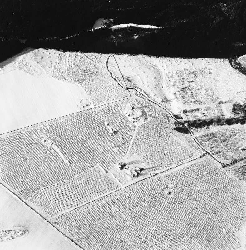 Oblique aerial view centred on the remains of the homestead and field-system, with the remains of the hut-circle, homestead, and building adjacent, taken from the SE.