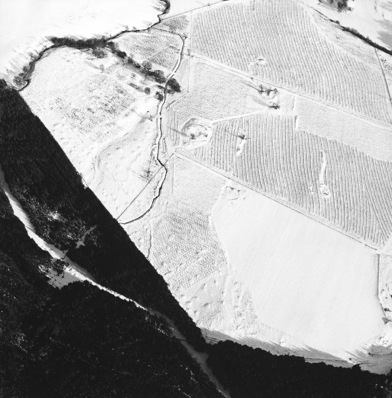 Oblique aerial view centred on the remains of the homestead and field-system, with the remains of the hut-circle, homestead, and building adjacent, taken from the W.