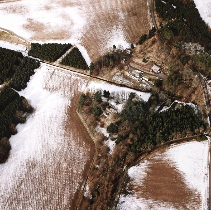 Oblique aerial view centred on the remains of the possible motte and tower-house, taken from the SE.