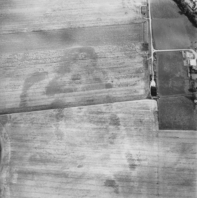 Oblique aerial view centred on the cropmarks of the possible long cist cemetery and pits with the remains of the standing stone adjacent, taken from the WNW.