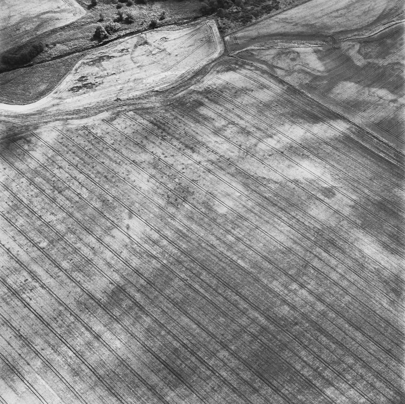 Leadketty, oblique aerial view, taken from the NW, centred on the cropmark of a large circular enclosure, and traces of an unenclosed settlement. Parts of a second, smaller enclosure are visible in the centre left of the photograph.