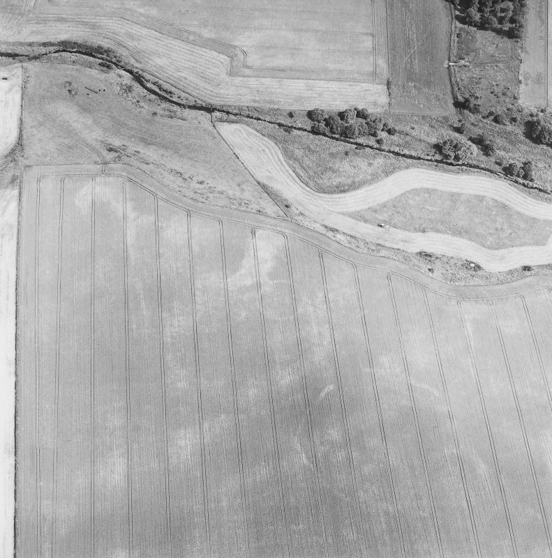Oblique aerial view centred on the cropmarks of the enclosures, taken from the WSW.