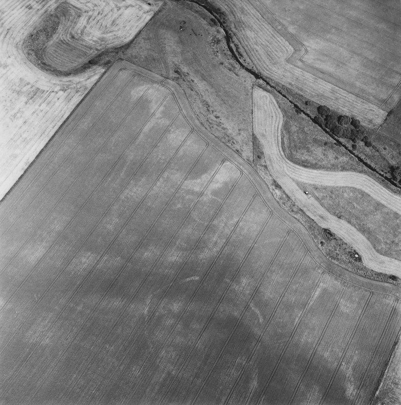 Oblique aerial view centred on the cropmarks of the enclosures, taken from the SW.