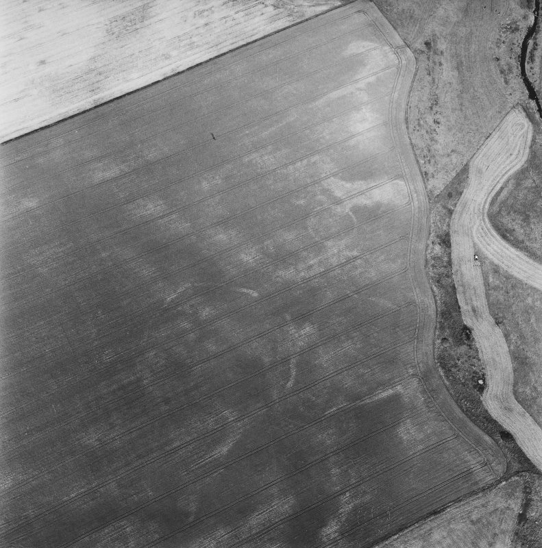 Oblique aerial view centred on the cropmarks of the enclosures, taken from the S.