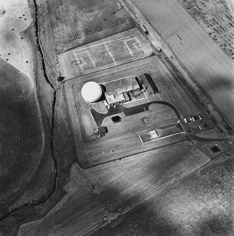 Balado Bridge Radio Station and Airfield, oblique aerial view, taken from the ESE, centred on the radio station.