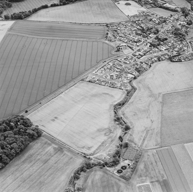 Oblique aerial view of Dunning centred on the cropmarks of a Roman temporary camp and the village, taken from the NNW.