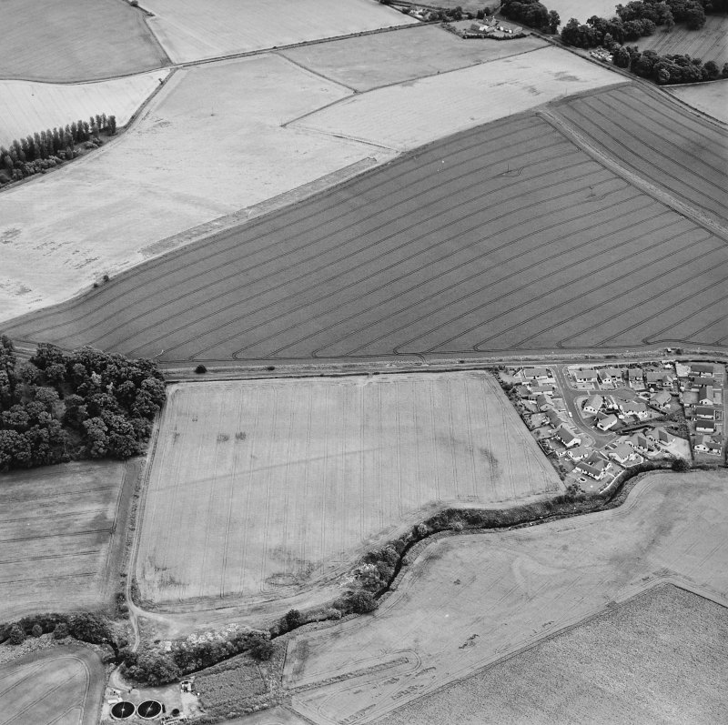 Oblique aerial view of Dunning centred on the cropmarks of a Roman temporary camp, taken from the NW.