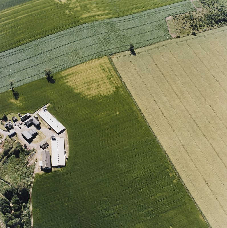 Oblique aerial view centred on the cropmarks of a possible henge, ring-ditch, pits and rig, taken from the ESE.