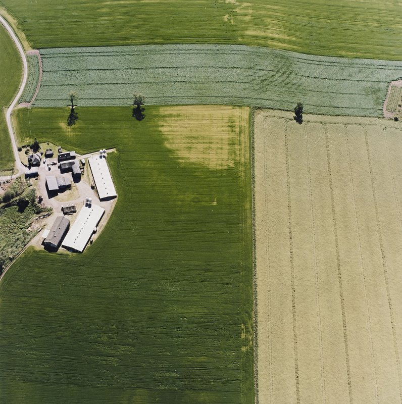 oblique aerial view centred on the cropmarks of a possible henge, ring-ditch, pits and rig, taken from the ENE.