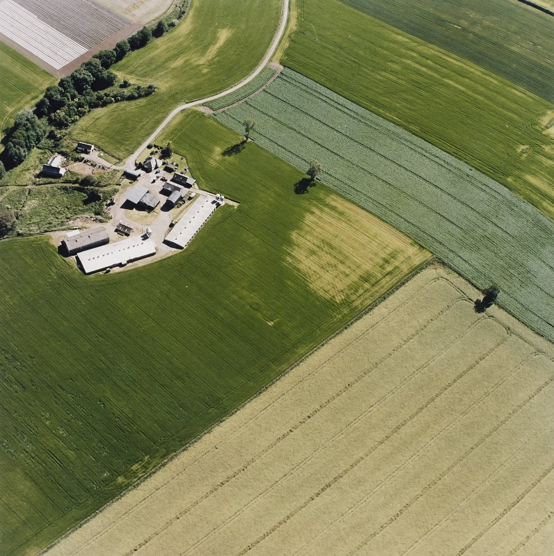 Oblique aerial view centred on the cropmarks of a possible henge, ring-ditch, pits and rig, taken from the NNE.