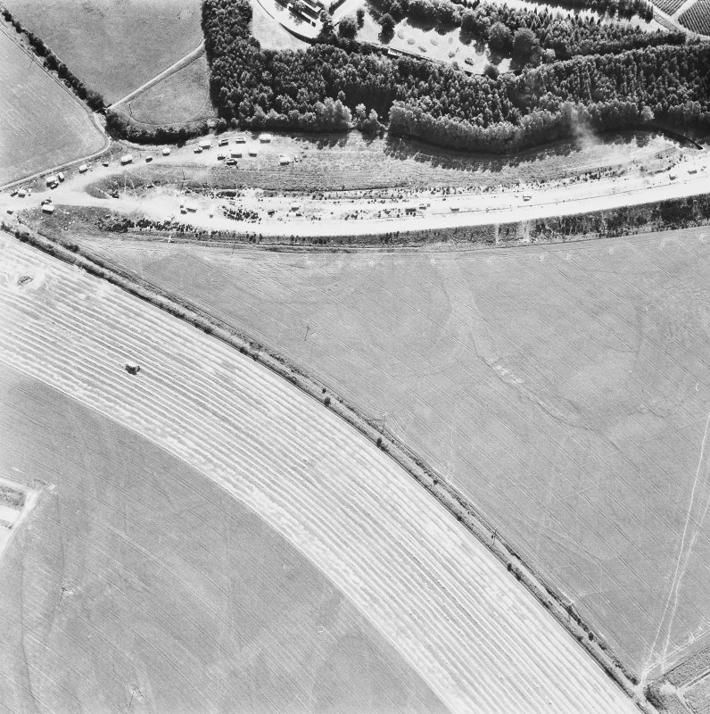Huntingtower Castle. General aerial view showing cropmarks.