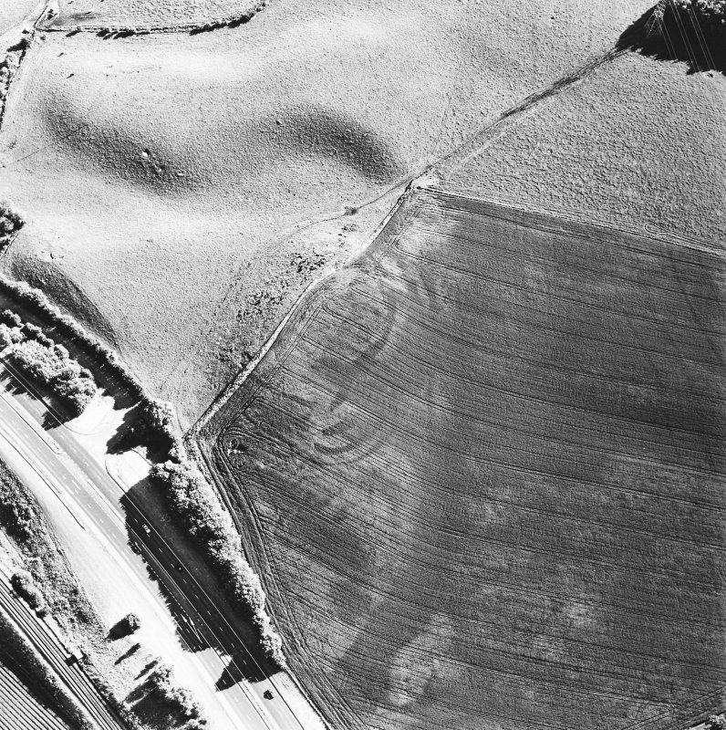 Oblique aerial view of Broxy Kennels centred on the cropmarks of a fort, taken from the NE.