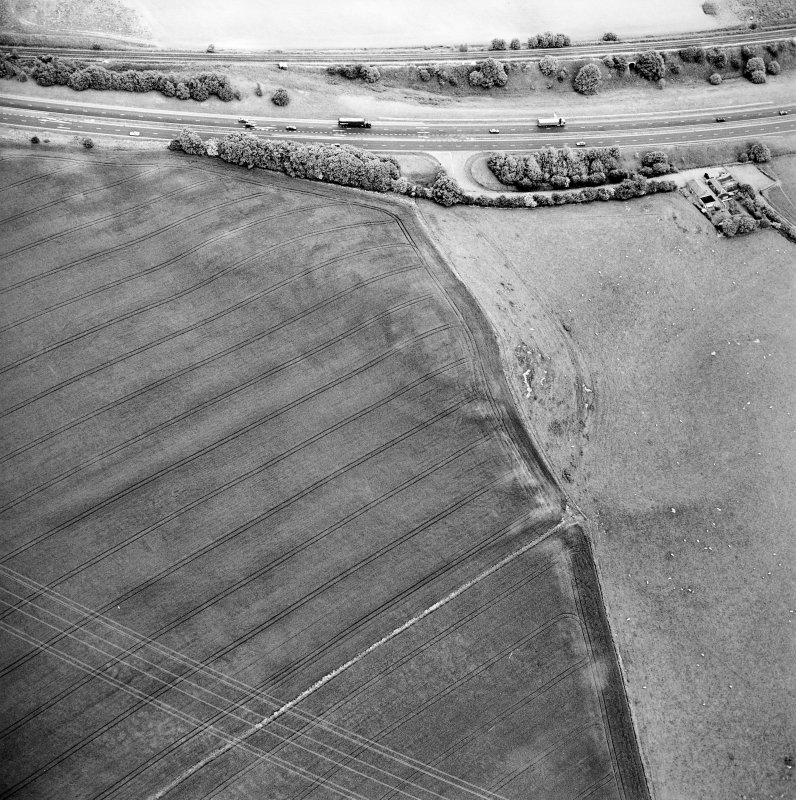 Oblique aerial view centred on the cropmarks of the fort, taken from the W.