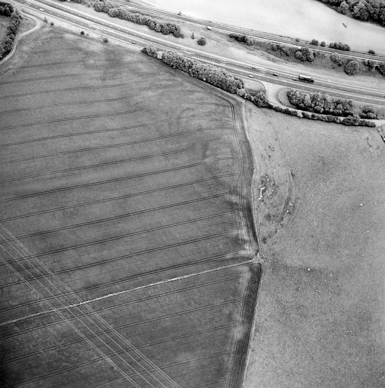 Oblique aerial view centred on the cropmarks of the fort, taken from the WSW.