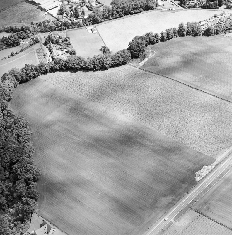 Oblique aerial view centred on the cropmarks of an enclosure, Roman Road and rig with enclosure and pit-circle adjacent, taken from the SW.