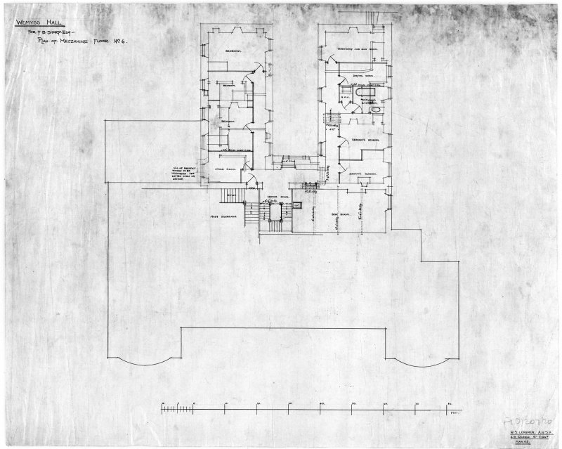 Photographic copy of mezzanine floor plan May 1905