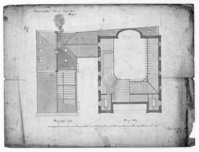 Glasgow, 176 Duke Street, United Presbyterian Church. Photographic copy of a plan of gallery and office roofs. Insc:'United Presbyterian Church, Duke Street, Glasgow, Plan of Office Roofs and Plan of Gallery'.
