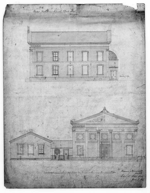 Glasgow, 176 Duke Street, United Presbyterian Church. Photographic copy of elevations. Insc: 'No.4. United Presbyterian Church, Duke Street, Glasgow'.
