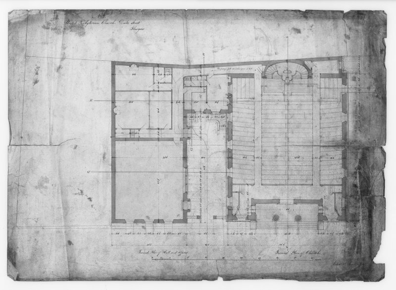Glasgow, 176 Duke Street, United Presbyterian Church. Photographic copy of ground plans. Insc: 'No.2. United Presbyterian Church. Duke Street, Glasgow. Ground Plan of Hall and Offices. Ground Plan of Church'.