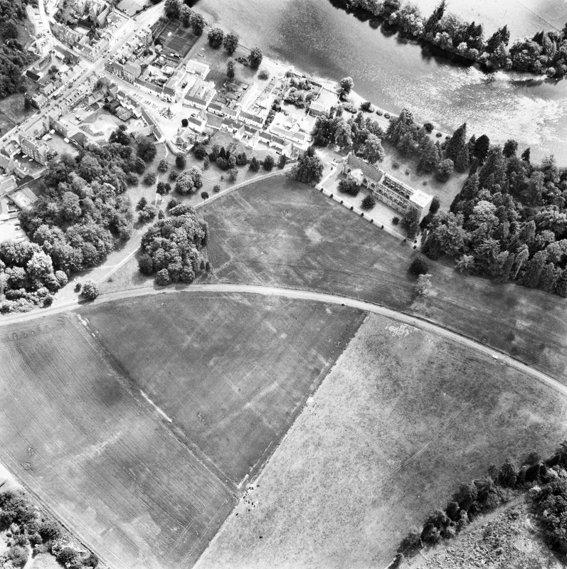 Dunkeld. Oblique aerial view with river to South.