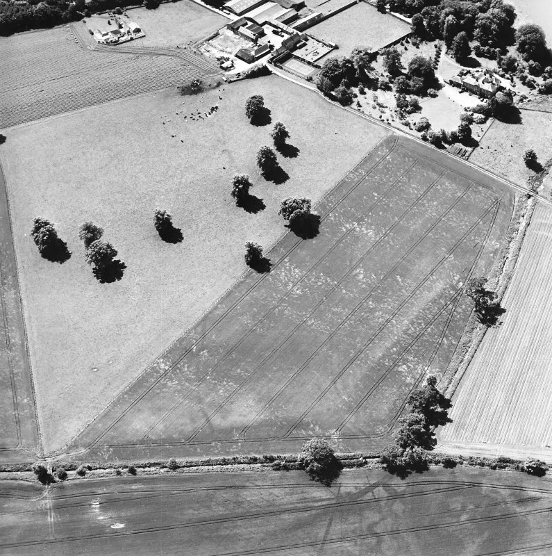 Oblique aerial view centred on linear cropmarks with country house, farmhouse and cottage adjacent, taken from the NE.