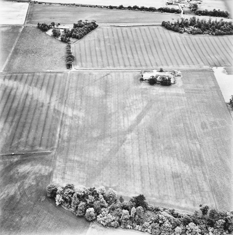 Carpow and Gillies Burn, oblique aerial view, taken from the NNW, centred on the cropmarks of a Roman Fort, a Roman enclosure, a ring-ditch and an unenclosed settlement. Mains of Carpow farmsteading is visible in the top right-hand corner of the photograph, and linear cropmarks are shown in the bottom left-hand corner.