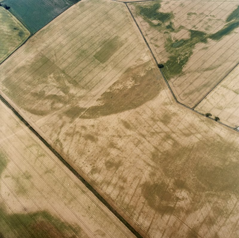 Oblique aerial view centred on the cropmarks of the pit-defined cursus, pits and rig, with pits, rig, ring-ditch and possible quarry adjacent, taken from the ESE.