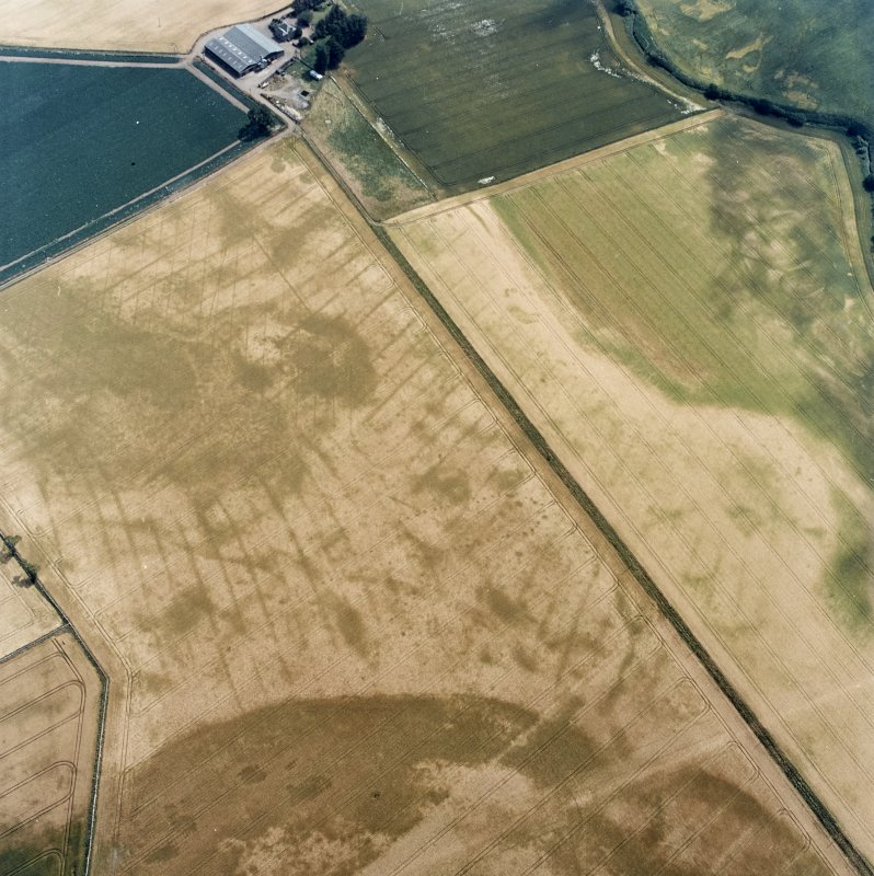 Oblique aerial view centred on the cropmarks of the pit-defined cursus, pits and rig, with farmhouse, pits, rig, ring-ditch and possible quarry adjacent, taken from the NW.