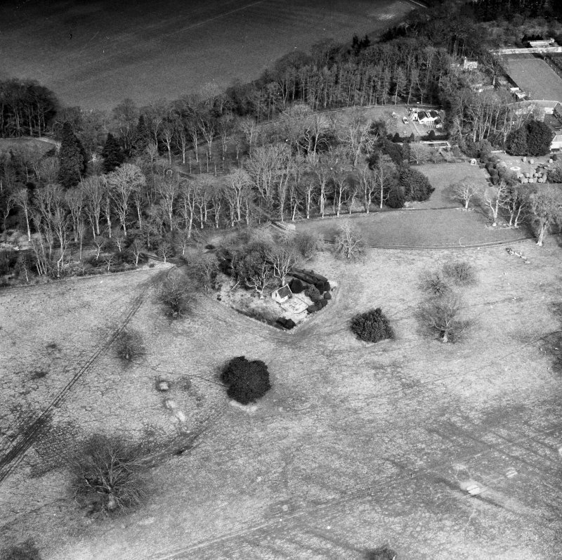 Megginch Chapel, Megginch Castle. General aerial view.