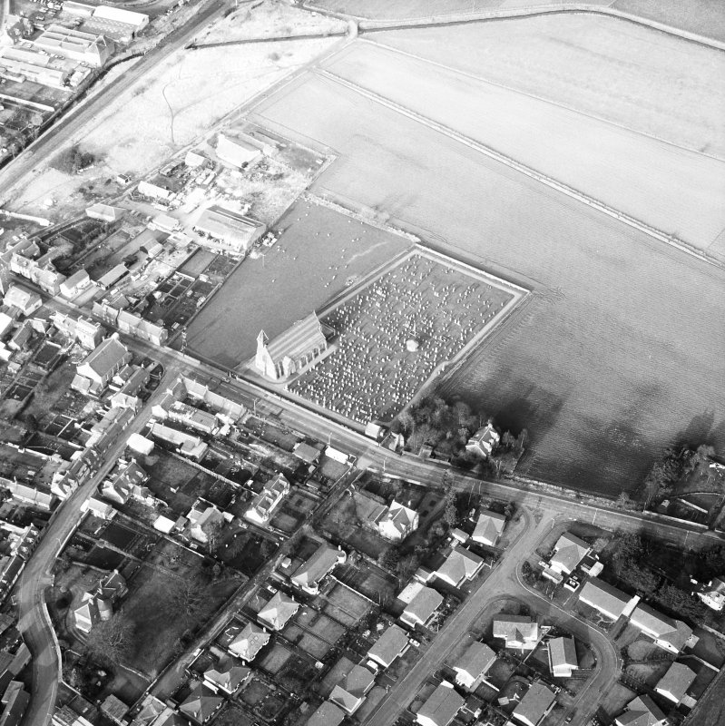 Coupar Angus Abbey. General oblique aerial view.
