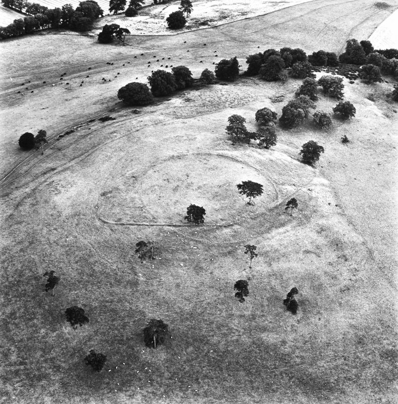 Dron Hill, oblique aerial view, taken from the N, centred on a fort and plantation bank.