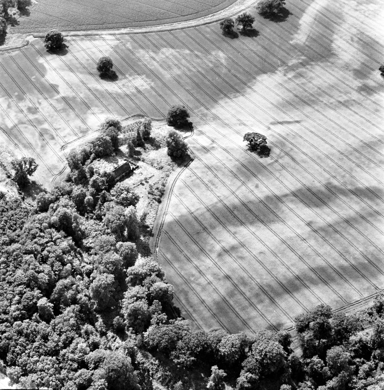 Rossie, oblique aerial view, taken from the NE, centred on the cropmarks of a series of rectilinear enclosures, a trackway and a building. Rossie Church is visible in the centre of the photograph.