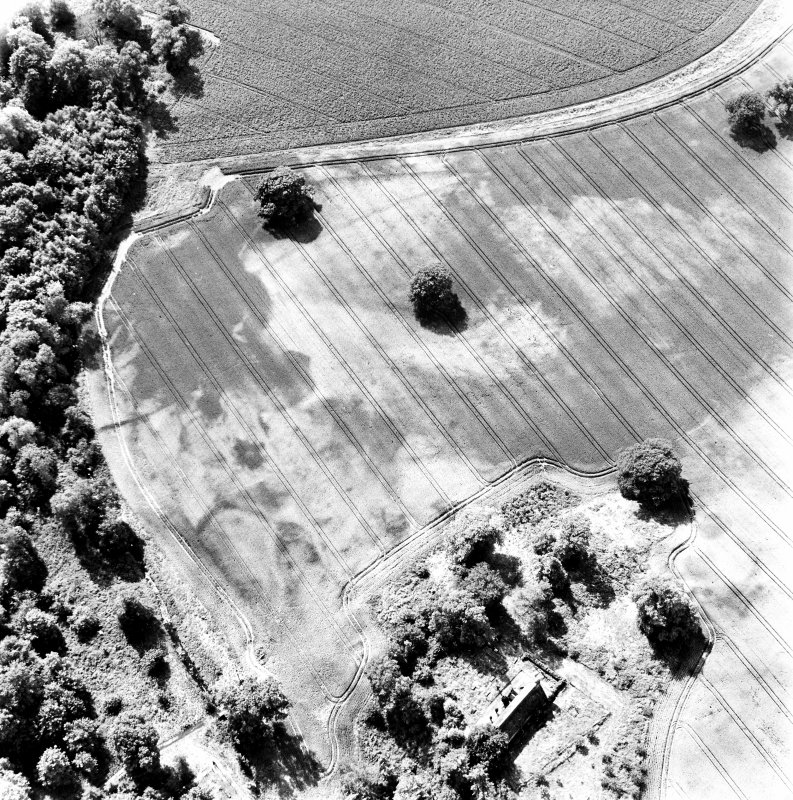 Rossie, oblique aerial view, taken from the NE, centred on a series of indeterminate cropmarks and the marks of an enclosure and a trackway. Rossie Church is visible in the bottom centre of the photograph.