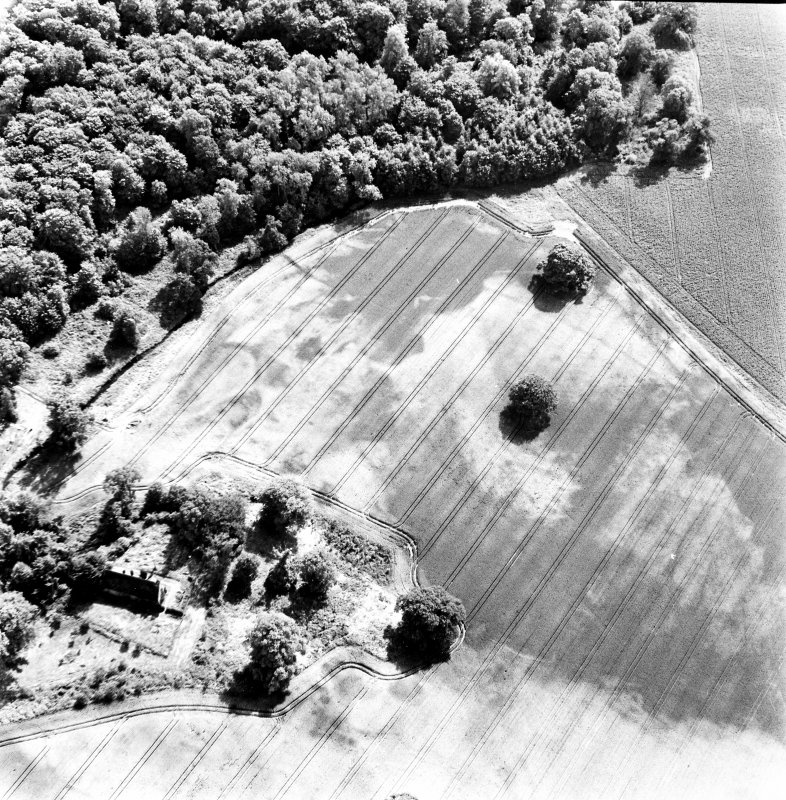 Rossie, oblique aerial view, taken from the NNW, centred on a series of indeterminate cropmarks and the marks of an enclosure and a trackway. Rossie Church is visible in the bottom left-hand corner of the photograph.