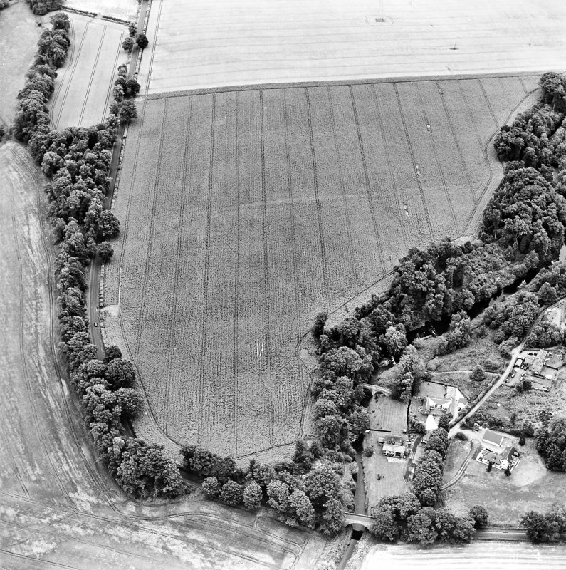 Oblique aerial view centred on the cropmarks of the Roman Fort with bridge, road bridge and watermill adjacent, taken from the SW.