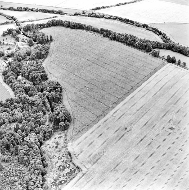 Oblique aerial view centred on the cropmarks of the Roman Fort with bridge, road bridge and watermill adjacent, taken from the ESE.