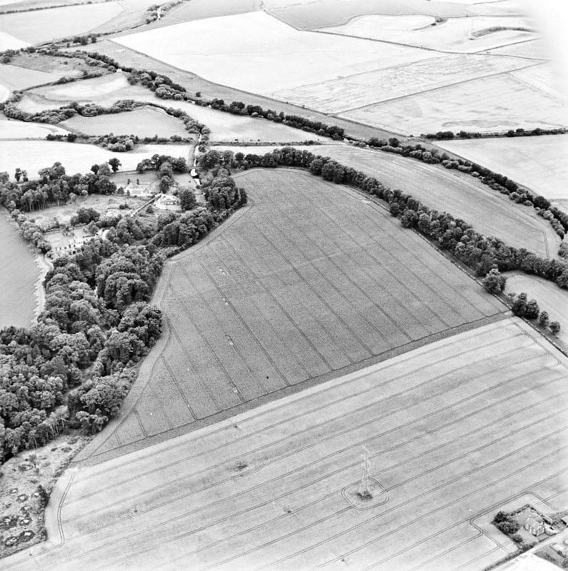 Oblique aerial view centred on the cropmarks of the Roman Fort with bridge, road bridge and watermill adjacent, taken from the E.