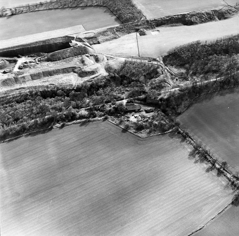General aerial view of Cults Hill Limestone Quarry and limestone clamp kilns, taken from the N.