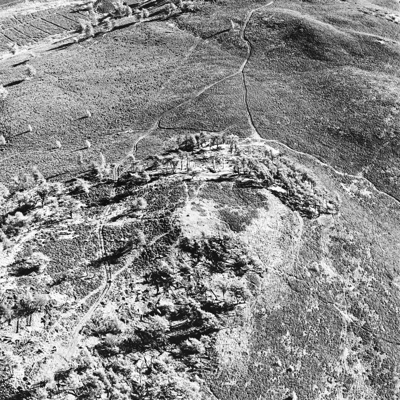 Oblique aerial view centred on the remains of the fort and possible cairn, taken from the W.