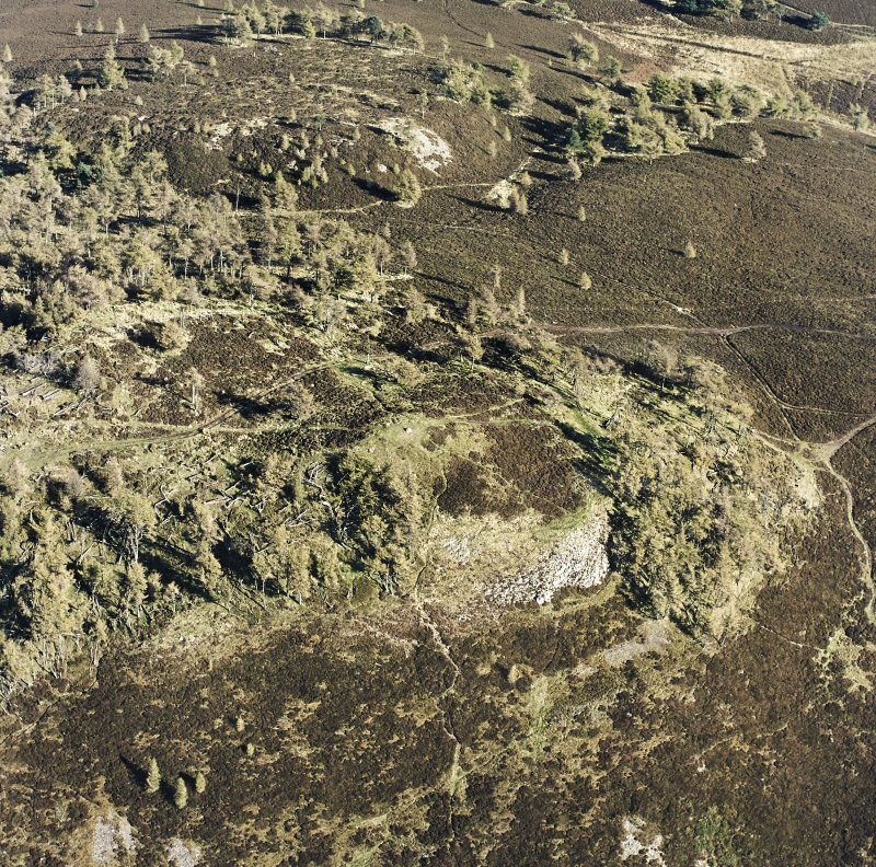 Oblique aerial view centred on the remains of the fort and possible cairn, taken from the WSW.