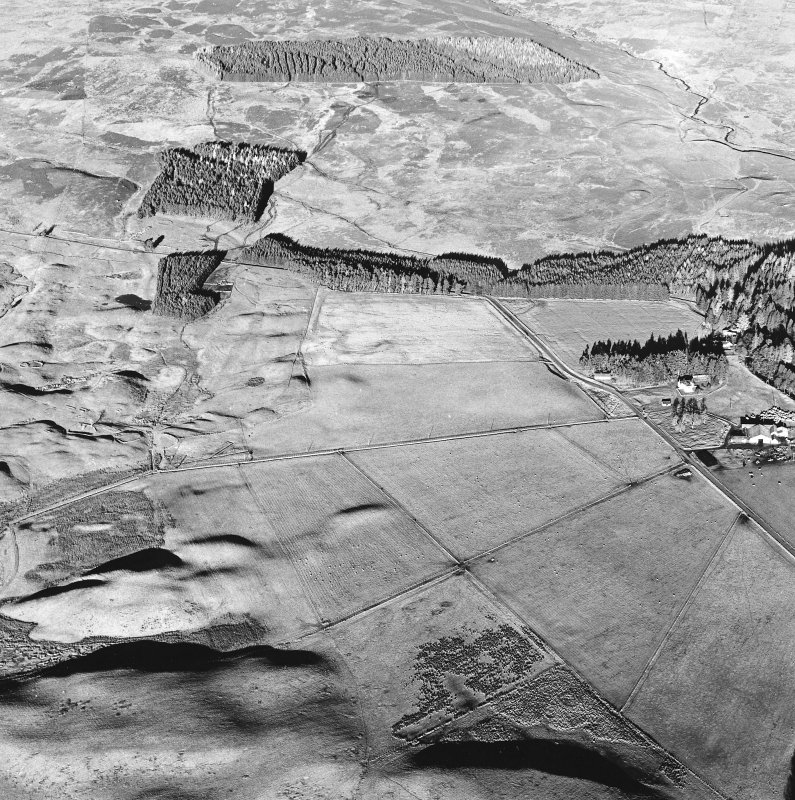 Oblique aerial view centred on the remains of a farmstead, small cairns and rig with farmstead, buildings, hut circles, small carins, banks and huts adjacent, taken from the SW.
