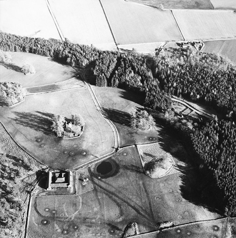 Oblique aerial view centred on the ruins of the tower-house with farmsteading adjacent, taken from the NW.