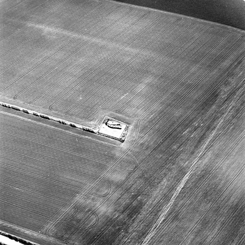 Oblique aerial view centred on the remains of the souterrain and settlement, taken from the NE.